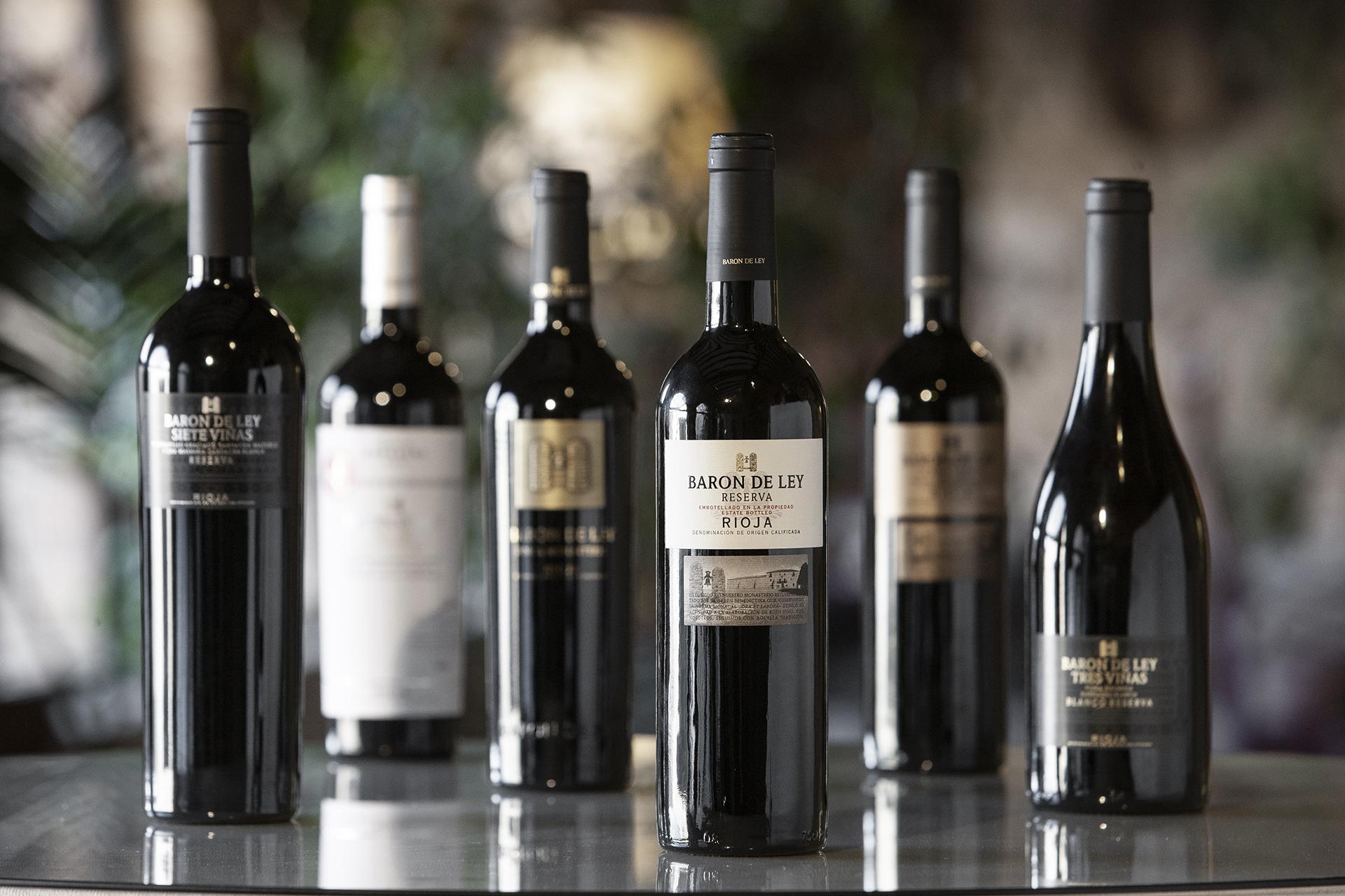 Botellas de vino de Barón de Ley